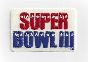 1969 Super Bowl III patch New York Jets vs Baltimore Colts SB 3 Joe Namath
