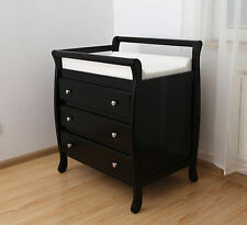 Baby Wooden Sleigh Change Table 3 DRAWERS with Pad Nursery Furniture Chest Dress