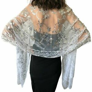 Sparkly Sequin Ladies Wrap Wedding Wraps Lace Net Evening Shawl Scarf Cover Ups