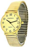 Philip Mercier Gents Goldtone Expander Bracelet Strap Dress Watch MC45B