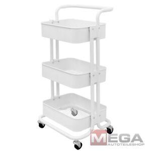 Küchenwagen Servierwagen Beistellwagen Rollwagen Küche Stahl 3 Etagen Weiß