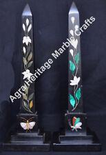 "12"" Pair of Black Marble Obelisks Pietra Dura Inlaid Marquetry Floral Arts"