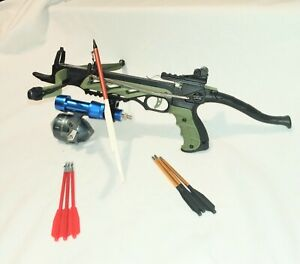 """80 lbs  FISHING CROSSBOW WITH 11"""" FIELD POINT BOLT AND FISHING REEL."""