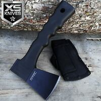 "9"" Tactical HUNTING Camping Black AXE & Hammer HATCHET w/ Fiber Glass Handle"
