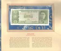 Most Treasured Banknotes Bolivia P-154a 10 Pesos 1962 UNC Prefix R