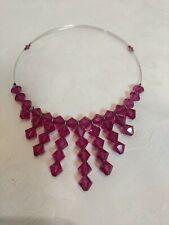 Crystal Drop Choker Pink Necklace Vtg Pink