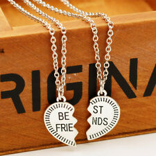 2Pcs Best Friend Family Heart Charm Chain Pendant Necklace Silver Jewelry BYC144
