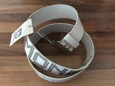 MONEY DESIGNER MENS LADIES LEATHER BELT IN WHITE SIZE LARGE NEW + TAGS