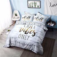 Chill Vibes Slogan Print Reversible Duvet Quilt Cover Set & Pillowcase Bedding