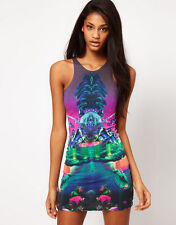 Motel Rocks Zoe Bodycon Dress in Mirrored Island Print ASOS XS 0 2 4 8