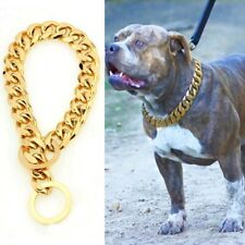 "12""-34"" Pet Dog Cat Collar Choker Gold Stainless Steel Chain Cuban Curb Link New"