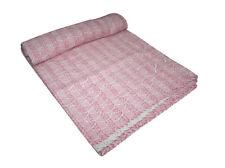 Pink Indian Hand BlockPrinted Handmade Kantha Quilt Bedspread- Queen Throw Decor