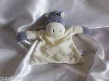 Doudou âne gris et blanc, grelot, Tiamo