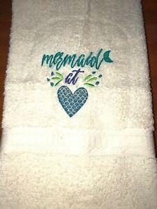 Embroidered Ivory Mainstays Bathroom Hand Towel Mermaid at Heart HS1929