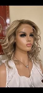 Wig Human Brazilian Hair Swiss Lace Front 130 Density Ombre Ash Blonde Highlight