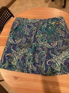 Lauren Ralph Lauren Gold Blue Green Paisley Women's 16 Shorts