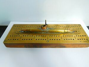SUPERB WWI TRENCH ART SUBMARINE CRIBBAGE BOARD