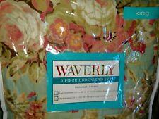 3pc WAVERLY SPRING FLING VAPOR KING Bedspread Set * 2 SHAMS * Blue & Pink Floral
