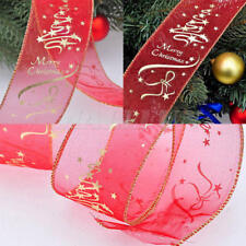 Red Gold Candy Cane Stripes Wired Ribbon Christmas Tree Bow Door Decor New x 1