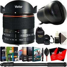 Vivitar 8mm Fisheye Lens for Canon + Editing Software Bundle Accessory Kit