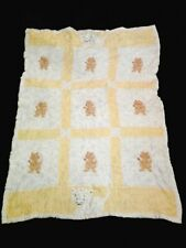 "Vintage Handmade Baby Blanket, Over 40 Years Old, 48"" x 35"", Cats"