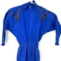 Vintage Womens Jumpsuit Matches Blue Size 10 1980's