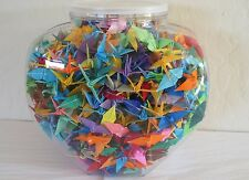 """One Thousand 1000 Hand-Made 2"""" Origami Paper Cranes in Plastic Jar - Solids"""