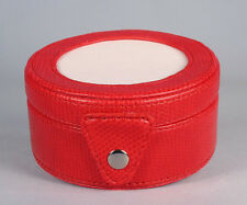 """LEE Bright Red Leather Gift Box Case for 3"""" Rd.  handpainted Needlepoint Canvas"""