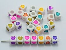 250 Color in white Love Heart Acrylic Cube Pony Beads 7X7mm