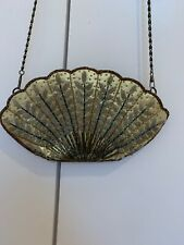 Vintage 1920s Scalloped Shell Gold Beaded Clutch Evening Bag, Gatsby, Downton