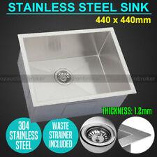 440x440mm Handmade Stainless Steel Undermount / Topmount Kitchen Laundry Sink AU