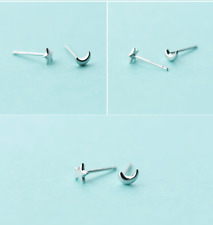 925 Sterling Silver Moon Star Tiny Asymmetric 5mm Stud Earrings gift box S4