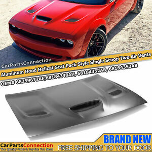 Aluminum Hellcat Scat Pack Style Front Hood Scoop For Dodge Challenger 2008-2021