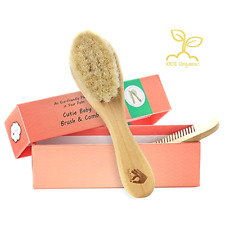 Organic Soft Goat Hair Newborn Baby Brush Natural Eco-Friendly Wood Handle, New