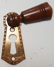 Antique Furniture Key Hole Cover Escutcheon Walnut And Brass Victorian