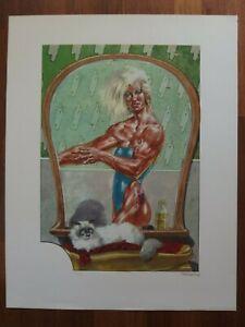 Liberatore Bodybuilding nude Katze cat 150 lim. signiert Litho EROTIK Comic Art