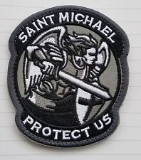 Modern Saint St. Michael Protect Us Tactical Acu Gray Ops 3D Hook Loop Patch -02