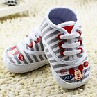 Cute Baby Boy Mickey Mouse Striped Disney Canvas Boots Shoes Pre Walkers