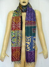 Vintage Silk Kantha Quilted Stoles Reversible Patch Work Scarves Hijab Shawl