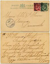 GB POSTAL STATIONERY KE7 UPRATED CARD 1/2d + 1d SCARBOROUGH to DENMARK 1902 EGGS