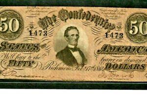 """$50 """"CONFEDERATE"""" 1800'S $50 (RARE) """"CONFEDERATE"""" 1800'S (RARE)  $50  NICE NOTE!"""