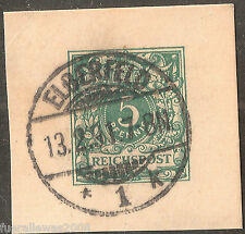 Deutsches Reich MiNr 46 Krone Perlenoval auf GA Briefstück von ELBERFELD 13.2.91
