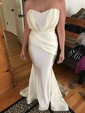 Walter Collection Evening Gown NINA Dress Strapless Ivory Gold Lace Beyoncé NEW