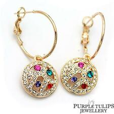 18K Gold Plated Multicolour Round Dangle Hoop Earrings MadeWith SWAROVSKICrystal