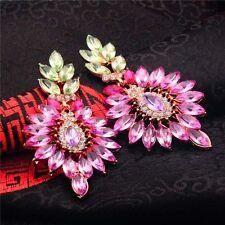 Colorful Big Flower Long Drop Earrings For Women Gorgeous Austria Crystal