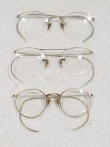 (3) 12K Gold Filled Eyeglass Lot A/O Ful Vue Rimless (2) Bifocal (2)