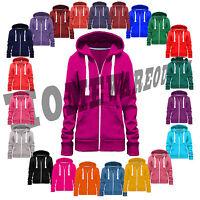 Ladies Womens Girls Plain Hoodie hoody Sweatshirt Hooded  Jumper Jacket Zip Top