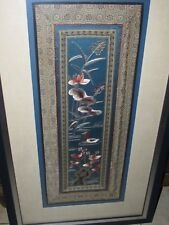 GORGEOUS LARGE  BLUE CHINESE SILK  EMBROIDERY TEXTILE TAPESTRY PICTURE