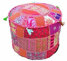New Vintage Ottoman Indian Cotton Pouf Cover Handmade Patchwork Round Foot Stool