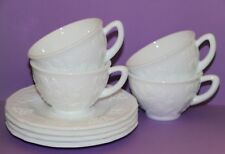 Indiana Harvest Grape Vines Colony Milk Glass Coffee Cup & Saucer Set of 4 ea
